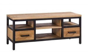 Besp-Oak Forge Iron and Oak Small TV Unit With Drawers | Fully Assembled