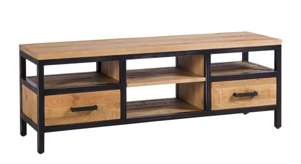 Besp-Oak Forge Iron and Oak Large TV Unit With Drawers | Fully Assembled