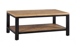 Besp-Oak Forge Iron and Oak Coffee Table With Shelf