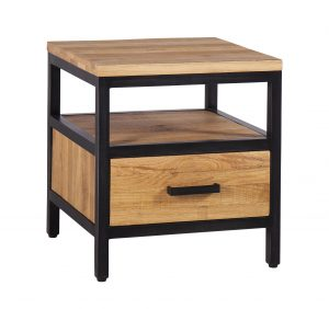 Besp-Oak Forge Iron and Oak 1 Drawer Side Table | Fully Assembled