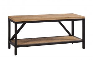 Besp-Oak Forge Iron and Oak Hall Bench | Fully Assembled