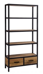 Besp-Oak Forge Iron and Oak Bookcase with 2 Drawers | Fully Assembled