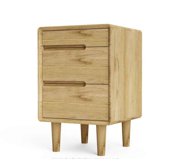 Homestyle Sandic Oak 3 Drawer Bedside Cabinet