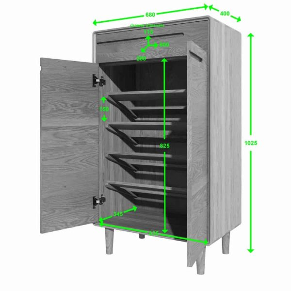 Homestyle Scandic Oak Shoe Cabinet