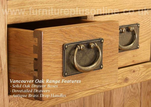 Besp-Oak Vancouver Oak Hall Sideboard with 3 Drawers & 1 Door   Fully Assembled