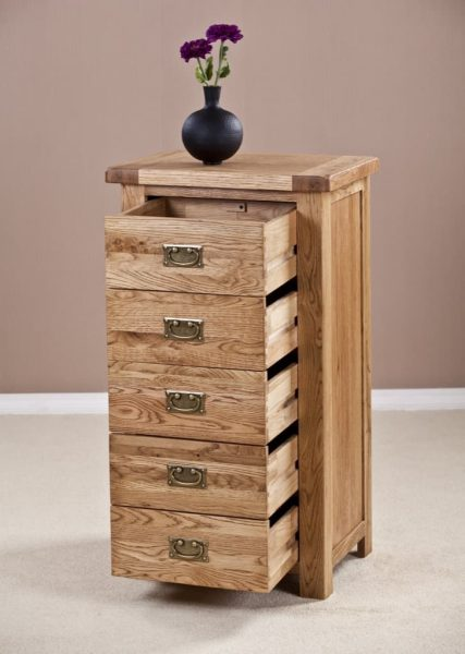 Suffolk Solid Oak 5 Drawer Wellington Chest | Fully Assembled