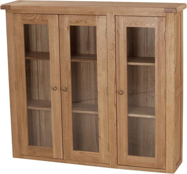 Suffolk Solid Oak 4'6″ Glass Door Dresser (Top Only) | Fully Assembled