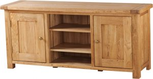Suffolk Solid Oak Large TV Unit with 2 Doors | Fully Assembled