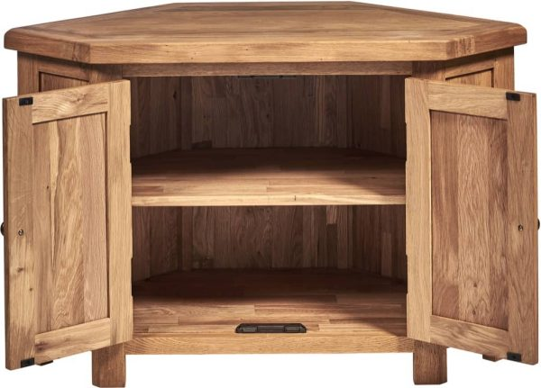 Suffolk Solid Oak Corner TV Unit with 2 Doors | Fully Assembled