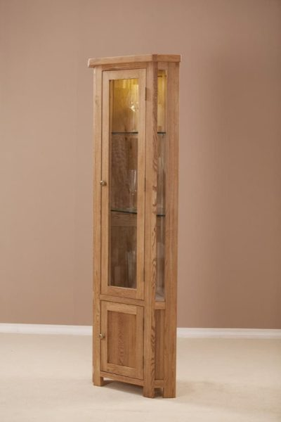 Suffolk Solid Oak Corner Display Cabinet with Glazed Door | Fully Assembled