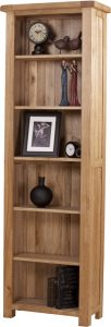 Suffolk Solid Oak 6′ Narrow Bookcase 6 Adjustable shelves | Fully Assembled