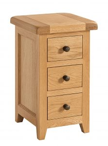Somerset Waxed Oak 3 Compact Drawer Bedside Cabinet | Fully Assembled