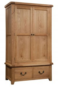 Somerset Waxed Oak 2 Door Double Wardrobe with 2 Drawers