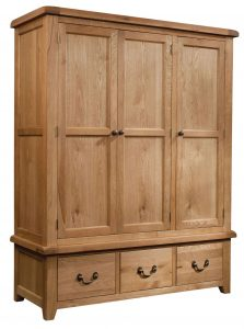 Somerset Waxed Oak Triple Wardrobe with 3 Drawers