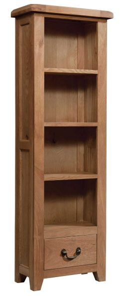 Somerset Waxed Oak 600mm x 1800mm Bookcase with Drawer | Fully Assembled