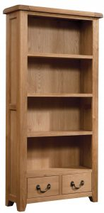 Somerset Waxed Oak 900mm x 1800mm Bookcase with Drawer | Fully Assembled