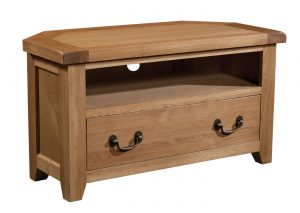 Somerset Waxed Oak Corner 1 Drawer TV Unit | Fully Assembled
