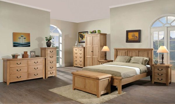 Somerset Waxed Oak 5 Drawer Tall Chest of Drawers | Fully Assembled