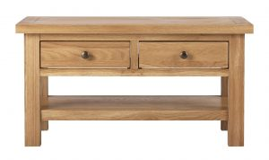 Besp-Oak Vancouver Compact Coffee Table with 2 Drawers | Fully Assembled