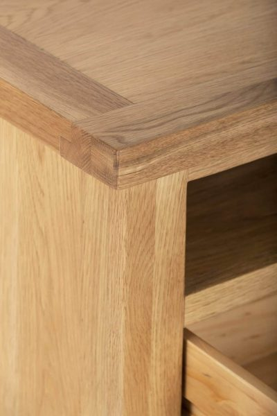 Besp-Oak Vancouver Compact TV Unit with 2 Drawers   Fully Assembled