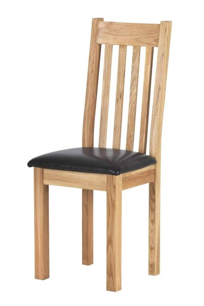 Besp-Oak Vancouver Compact Dining Chair with Bi-cast leather seat – Pair   Fully Assembled