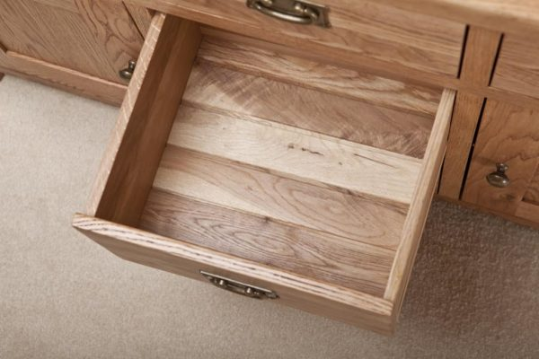 Suffolk Solid Oak 4'6″ Sideboard with 5 Drawers 2 Doors   Fully Assembled