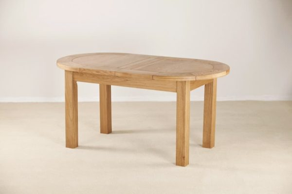 Suffolk Solid Oak Large D End Extending Dining Table 1.6M – 2.1M