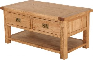 Suffolk Solid Oak Coffee Table with 2 Drawers | Fully Assembled