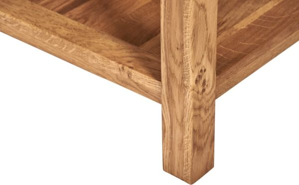 Suffolk Solid Oak Small Square Coffee Table with shelf | Fully Assembled