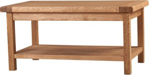 Suffolk Solid Oak Rectangular Coffee Table with shelf | Fully Assembled