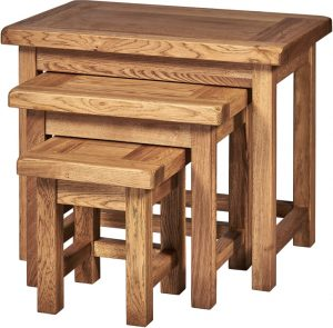 Suffolk Solid Oak Small Nest of 3 Tables | Fully Assembled