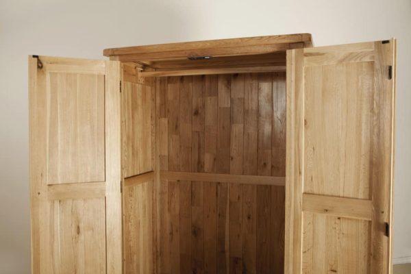 Suffolk Solid Oak 1 Drawer 2 Door Double Wardrobe