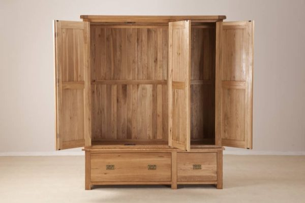 Suffolk Solid Oak Triple Wardrobe with Drawers
