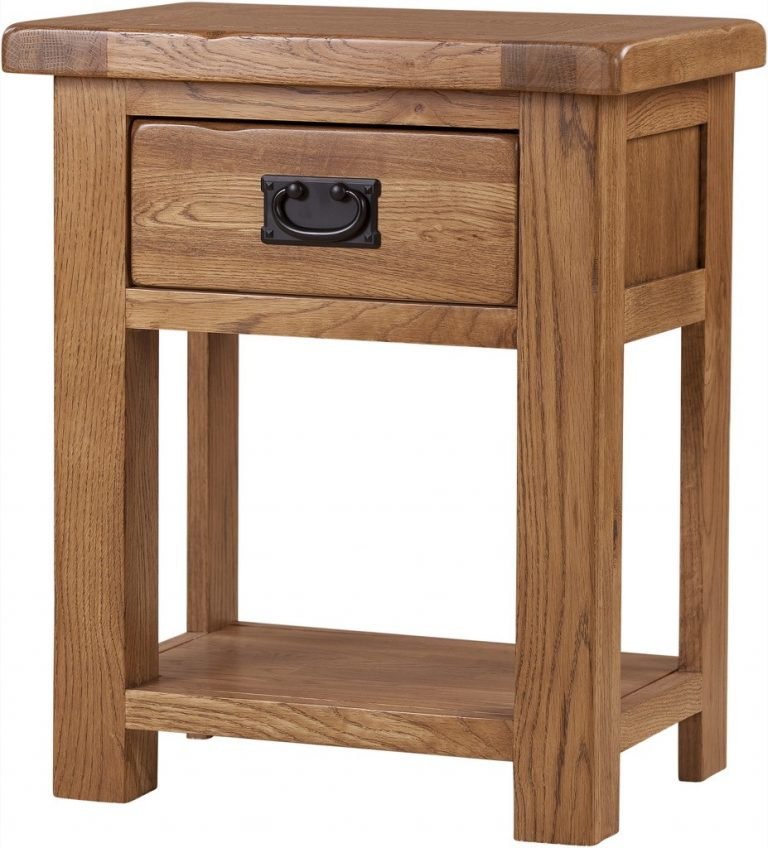 Country Rustic Oak 1 Drawer Bedside Cabinet