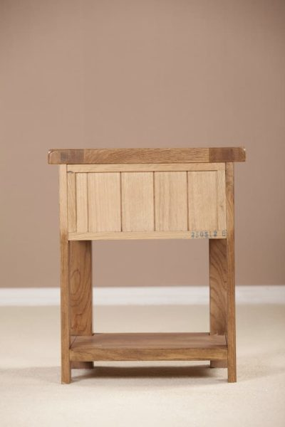 Country Rustic Oak 1 Drawer Bedside Cabinet  | Fully Assembled