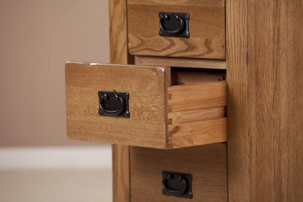 Country Rustic Oak 3 Drawer High Bedside Cabinet
