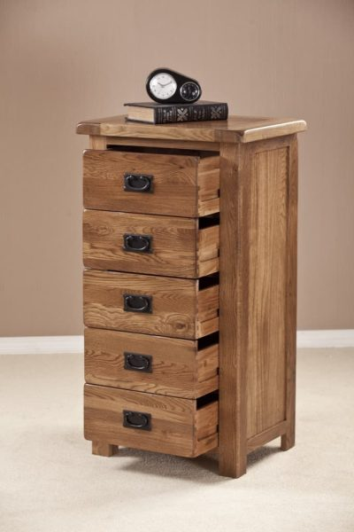 Country Rustic Oak 5 Drawer Wellington Chest