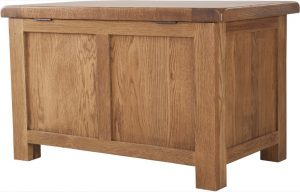 Country Rustic Oak Small Blanket Box