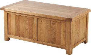 Country Rustic Oak Blanket Box