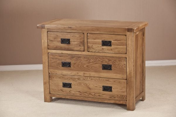 Country Rustic Oak 2 over 2 Drawer Chest