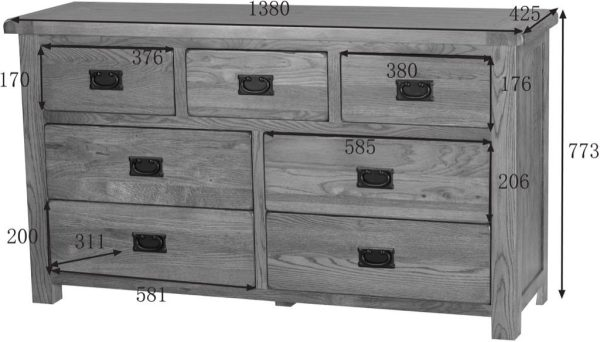 Country Rustic Oak 3 over 4 Drawer Chest