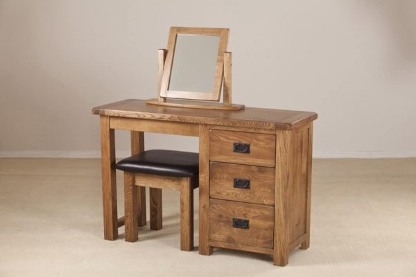 Country Rustic Oak Single Dressing Table (Only)