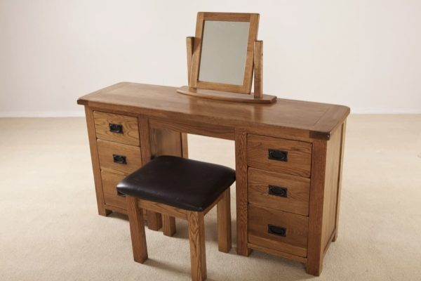 Country Rustic Oak Double Dressing Table (Only)