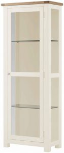 Classic Portland Painted White Glazed Display Cabinet – white