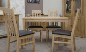 Elegance Oak Medium Fixed Top Dining Table (TABLE ONLY)