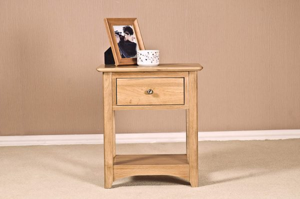 Cambridge Solid Oak 1 Drawer Lamp Table | Fully Assembled