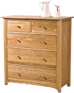 Cambridge Solid Oak 2 over 3 Drawer Chest | Fully Assembled