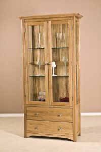 Cambridge Solid Oak Glass Display Cabinet With Drawrs & Light | Fully Assembled