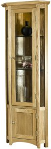 Cambridge Solid Oak Corner Display Cabinet With Light | Fully Assembled