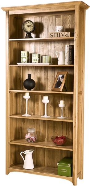 Cambridge Solid Oak 6′ Bookcase With 5 Shelves | Fully Assembled